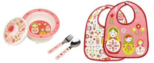Sugarbooger Covered Bowl, Silverware, and 2 Bibs Set-Matryoshka Doll