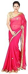Kasturi Sarees Basement Women's Chiffon Saree (Pink)