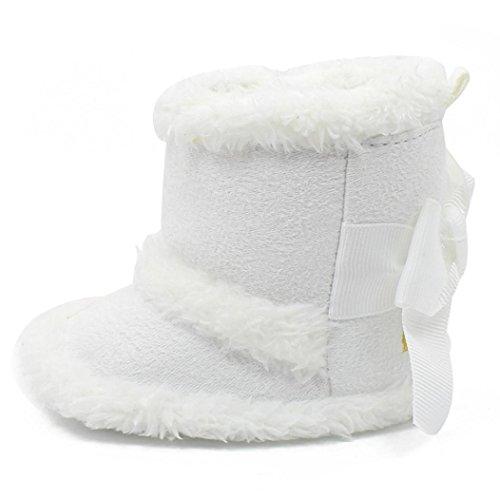 Kingko® Mantenere Scarpe molle del bambino Sole neve stivali morbidi greppia scarpe calde del bambino Stivali invernali (12~18 mesi, Bianco)