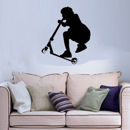 """Colorfulhall 21.65"""" X 25.59"""" Black Color A Stunt Scooter Boy Wall Art Decal Sticker For Kids Room Decoration front-363116"""