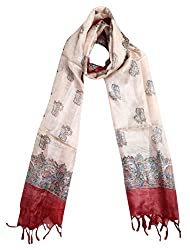 Sumona and Me Women's Silk Dupatta (Beige and Red)