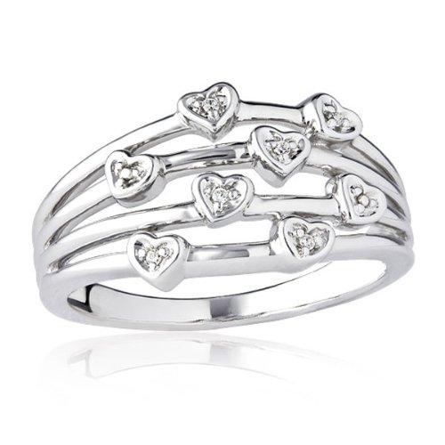 Sterling Silver Diamond Multi Heart Ring - Size 7