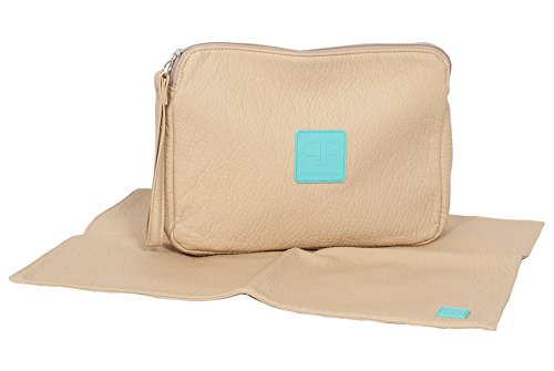 Posh Play - Luxury Diaper Clutch and Changing Pad Set - Beige