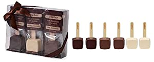 Hot Chocolate on a Stick - 6 Pack Variety Gift Box - Dark, Milk, Vanilla White Chocolate