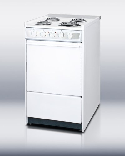 Summit Commercial Wem115R Electric Residential Range W/Low Stainless Steel Backguard, 20 In.