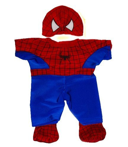 "Spidey Teddy outfit Teddy Bear Clothes Fit 14"" - 18"" Build-A-Bear, Vermont Teddy Bears, and Make Your Own Stuffed Animals by Teddy Mountain - 1"