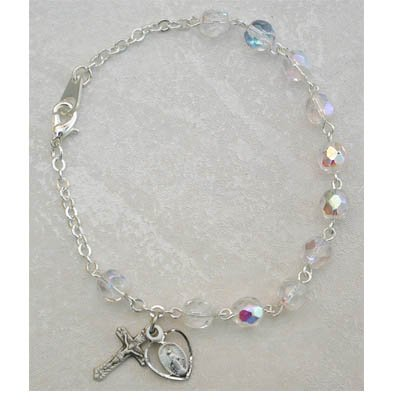 Sterling Silver Womens Rosary Bracelet Crystal April Birthstone.
