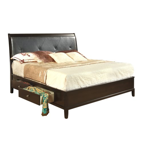 Lovely Global Jenna Storage Platform Bed In Espresso King