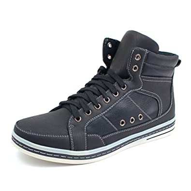 Delli Aldo Mens Black Faux Leather High Top Fashion Sneakers 7.5 M US