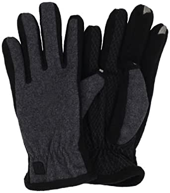 Isotoner Men's Smartouch Back Gloves, Black/Grey, Medium
