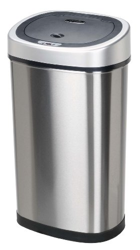 Nine Stars DZT-50-9 Infrared Touchless Stainless Steel Trash Can, 13.2-Gallon (Stainless Waste Can compare prices)