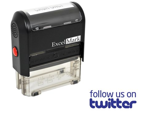 ExcelMark Self Inking Follow Us On Twitter Stamp – Blue Ink
