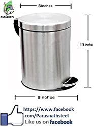 Parasnath Stainless Steel Plain Pedal Dustbin, Plain Pedal Garbage Bin with Plastic Bucket 8''X13'' (7 litre)