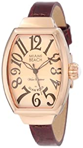 Glam Rock Miami Beach Art Deco MBD27088 mm Rose Gold Case Brown Leather Mineral Women's Watch
