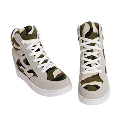 jeansian Moda Donna Casuale Tela Piattaforma Incunearsi Scarpe da Ginnastica Wedge Sneakers WSB014 Beige 39