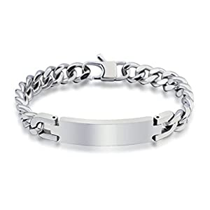 AmDxd Jewelry Titanium Stainless Steel Men's Fashion Curb Chain Bracelet Polished Finish Length 20CM from AmDxd