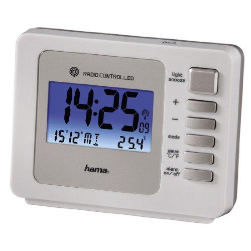 DCF Funkwecker Fashion Plus (zwei Weckzeiten, Bewegungssensor, automatische Zeitumstellung, blaue LED Hintergrundbeleuchtung, Thermometer, digitaler Wecker) weiß
