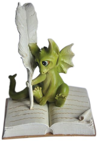Top Collection Enchanted Story Fairy Garden Dragon Writing Outdoor Statue front-96789