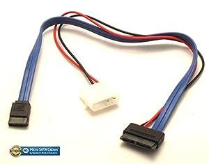 Micro SATA Cables - 13 Pin Slimline SATA 12 Inch Cable Power and DATA