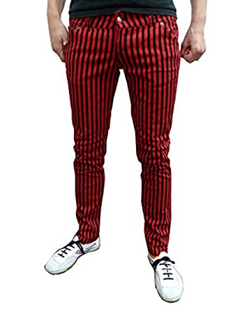 Mens and Ladies skinny jeans drainpipes stripey black red 26 28 30 32 34 (34)