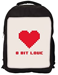Snoogg 8 Bit Love Backpack Rucksack School Travel Unisex Casual Canvas Bag Bookbag Satchel