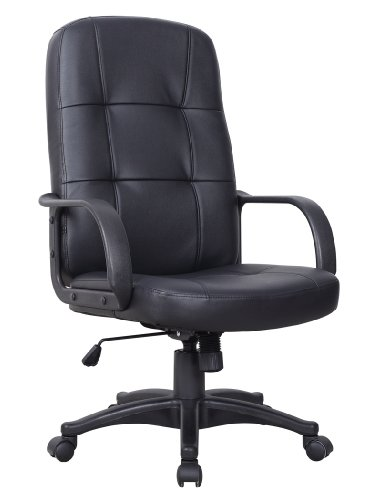 94701 BRAND NEW 2013 MODEL PADDED COW SPLIT LUXURY BLACK PU LEATHER RECLINING/ADJUSTABLE SWIVEL EXECUTIVE OFFICE CHAIR <<<THT Trade >>>
