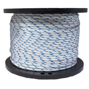 For Sale! Miami Cordage PYB5165028 Polyester Double Braid 5/16 in x 50 ft White w/Blue Flecks
