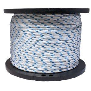 For Sale! Miami Cordage PYB5165028 Polyester Double Braid 5/16 in x 50 ft White w/Blue Flecks