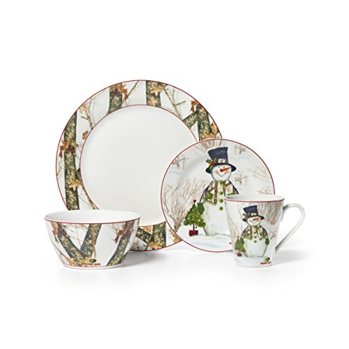 Mossy Oak 16-Piece Break Up Infinity Dinnerware Set, Holiday Snowman