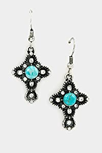 GlitZ FINERY Turquoise Cross Crystal Accent Dangle Earring