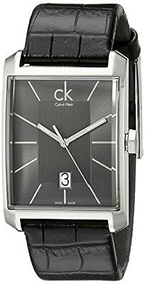 Calvin Klein Men's K2M21107 'Window' Grey Dial Black Leather Strap Swiss Quartz Watch