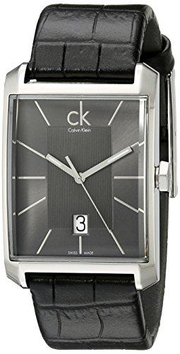 Calvin Klein Calvin Klein Window K2M21107 - Reloj analógico de cuarzo para hombre, correa de cuero color negro