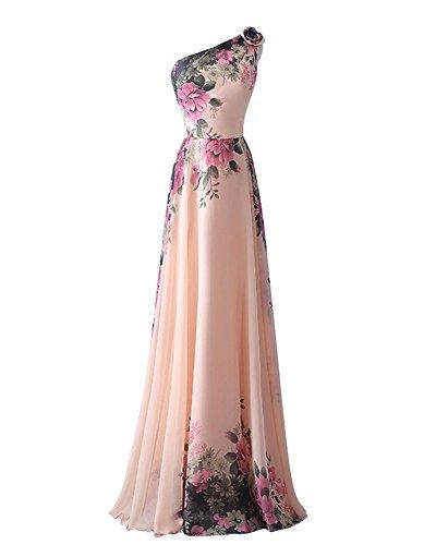 YipGrace Mujeres De Las Elegantes De Un Hombro Vestido De Fiesta Pink S