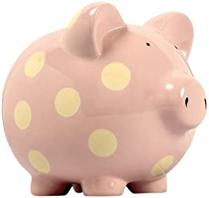 Extra Large Pale Pink Classic Spot Ceramic Piggy Bank