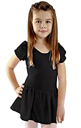 Basic Moves Little Girls Flutter Sleeve Leotard with Attached Skirt