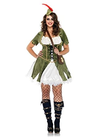 Leg Avenue Women's 3 Piece Thief Of Hearts Peasant Dress With Waistcoat And Satchel, Olive/Cream, 1X-2X