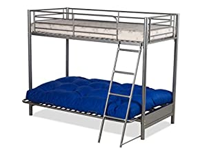 FUTON BUNK BED and with red futon mattress (top mattress at extra cost)