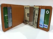 Black/Brown Money Clip Bi-fold Leather Wallet By DesignSK