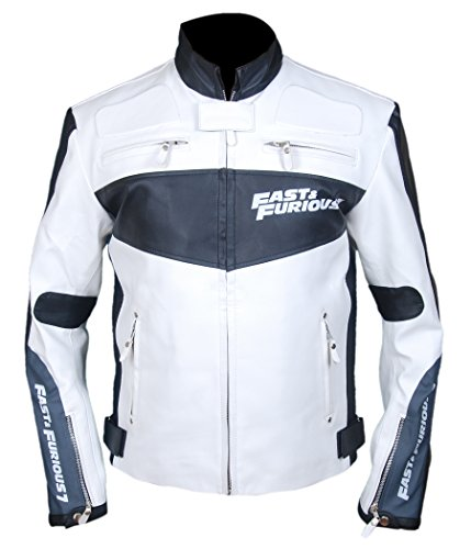 Fast and Furious 7Vin Diesel in vera pelle giacca Bianco & Nero 44