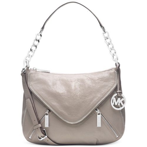 Michael Kors Odette Zip Medium Convertible Shoulder Bag Pearl Gray