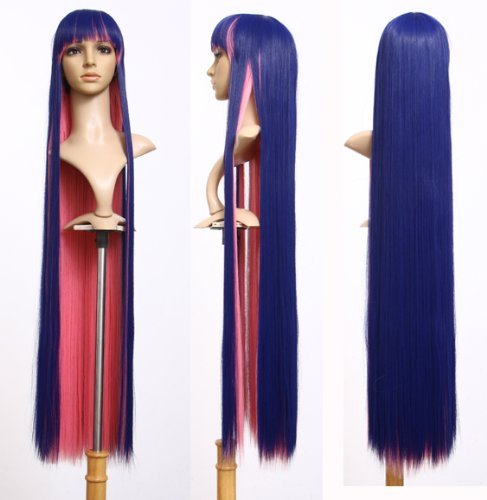 Cosplayland C107 120cm PANTY AND STOCKING Cosplay King blue & Pink Heat-resistant Wig