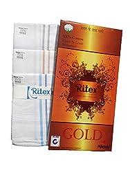 Ritex White 100% Cotton Handkerchiefs for Men- Pack Of 10 Pcs.