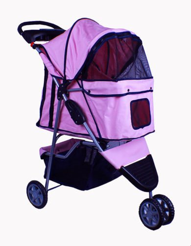 New Deluxe Folding 3 Wheel Pet Dog Cat Stroller Carrier W Cup Holder Tray Pink front-951903