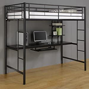 Twin Loft Bed with Workstation Black from Walker Edison