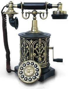 1890s Black Classic Old Timey School Antique Vintage Novelty Weird Looking Style Retro Rotary Dial Desk Home House Telephones Phones Reproduction Replica
