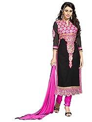 Black & Pink Embroidered Salwar Kameez