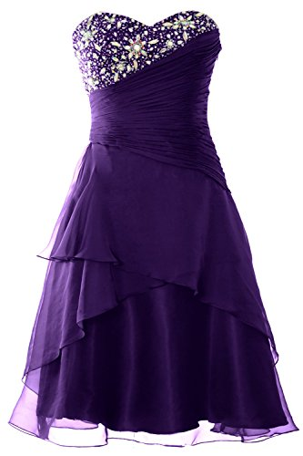 MACloth donne senza spalline cristallo breve Tiered Prom Dress partito di sera abito Purple 42