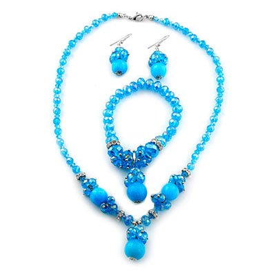 TJC Natural Stainless Steel Jewellery Set With Light Blue Stone