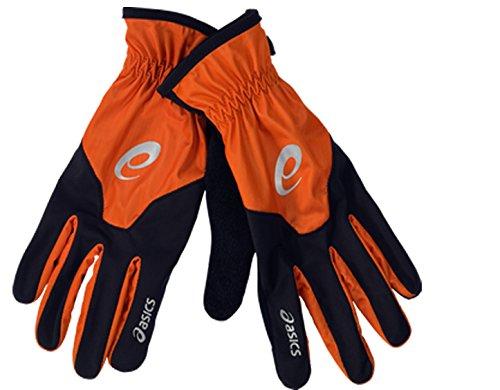 Asics Guanto Running Invernale, Colore: Nero/Arancione, Taglia: 8,5
