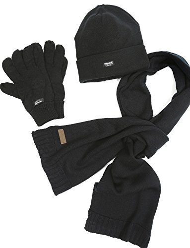 VEDONEIRE Mens 3 piece Set - Hat Scarf Gloves set (3016 BLACK) winter warm fleece
